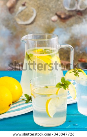 Bottle of fresh drink with lemon and mint flavor, juice