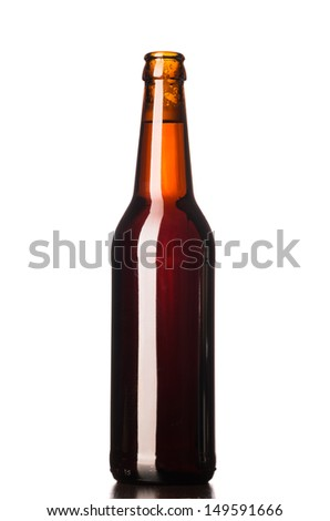 bottle of fresh lager beer cut out from white - stock photo