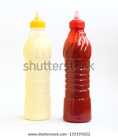 bottle of ketchup and mayonnaise - stock photo