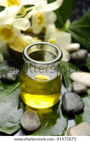 bottle of massage oil and stones with orchid on green leaf background