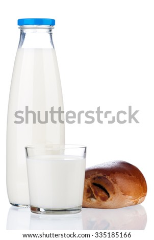 Bottle of milk and bun with poppy seeds, isolated on white background  - stock photo