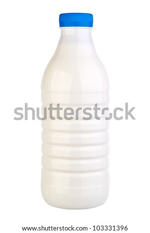 Bottle of Milk on Isolated White Background