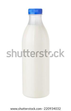 bottle of milk on white background - stock photo