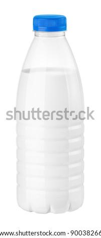 bottle of milk or kefir on a white background - stock photo