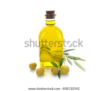 Bottle of olive oil and olives white background - stock photo