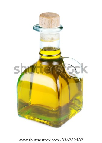 Bottle of olive oil isolated on white background, close up - stock photo