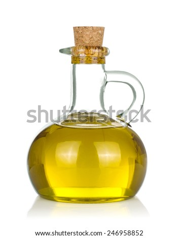 Bottle of olive oil on white background. - stock photo