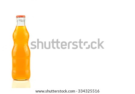bottle of  Orange Fanta (coca cola) glass soda isolated on a white background - stock photo