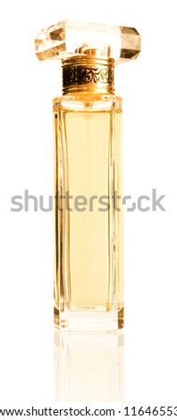 Bottle of perfume isolated over a white background - stock photo