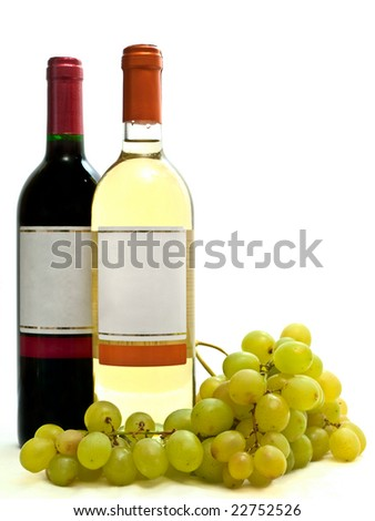 bottle of red and white wine with vine against the white background