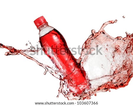 Bottle of red carbonated water splash