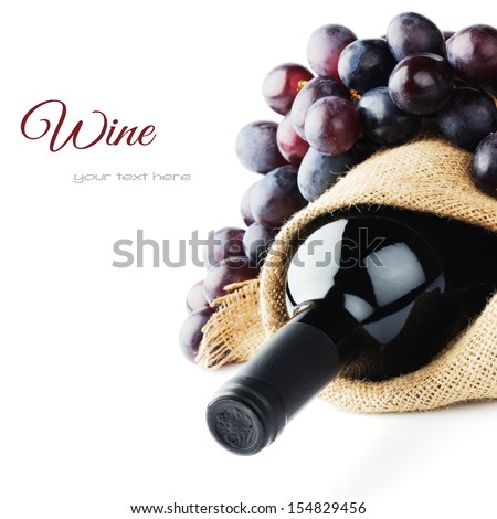 Bottle of red wine and freshly harvested grape - stock photo