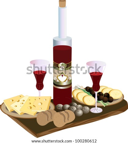 Bottle of red wine glasses, cheese and quail eggs - stock photo