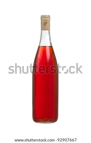 Bottle of Red Wine Isolated on a White Background - stock photo