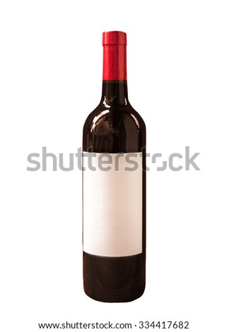 bottle of red wine isolated on white.