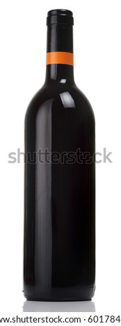 Bottle of red wine isolated on white - stock photo