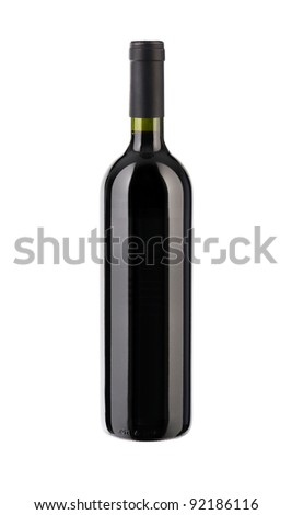 bottle of red wine , isolated on white