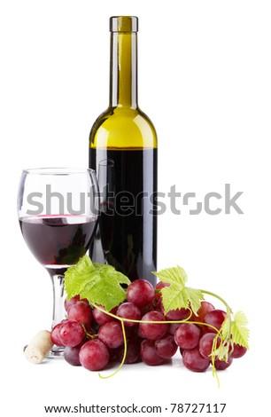Bottle of red wine isolated on white background - stock photo