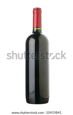 Bottle of red wine isolated over white background