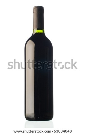 bottle of red wine isolated with clipping path