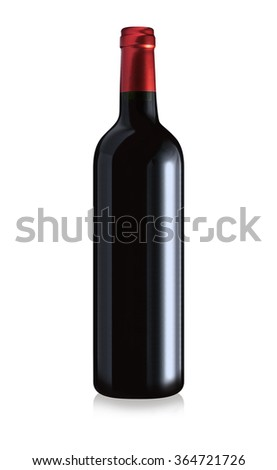 Bottle of red wine isolated with red foil on a white background. Clipping path