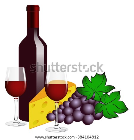 Bottle of red wine, two glasses, grape and cheese on a white background.