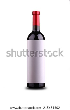 Bottle of red wine with blank glossy label isolated over white