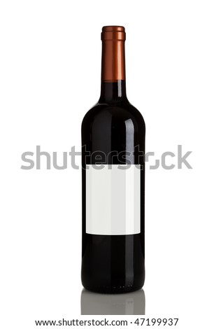 bottle of red wine with blank label isolated on white