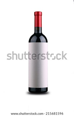 Bottle of red wine with blank textured label isolated over white