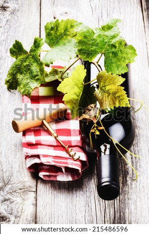 Bottle of red wine with grapevine and corkscrew - stock photo