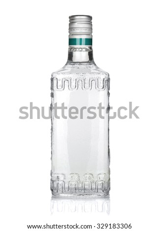 Bottle of silver tequila. Isolated on white background - stock photo
