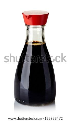 Bottle of soy sauce isolated on white background - stock photo