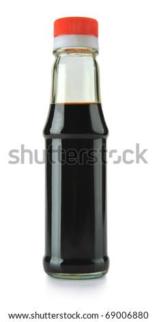 Bottle of soy sauce on white background - stock photo