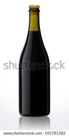 Bottle of sparkling red wine isolated with clipping path - stock photo