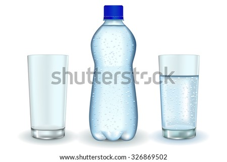 Bottle of sparkling water. Glass of water and empty glass. Raster version. Isolated on white. - stock photo