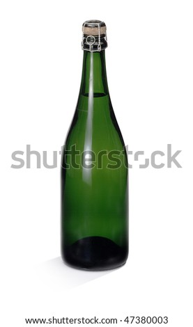 bottle of sparkling white wine on white