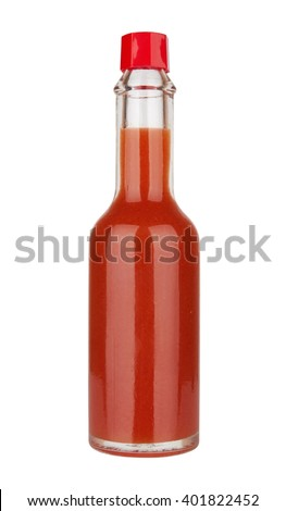 Bottle of spicy, red hot sauce isolated on white background - stock photo