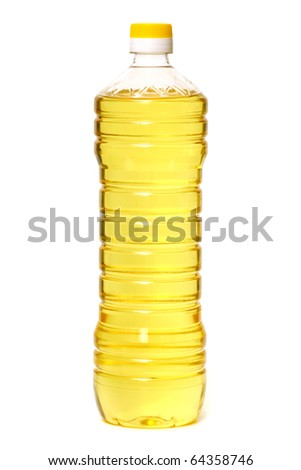Bottle of sunflower oil isolated on white backgound - stock photo