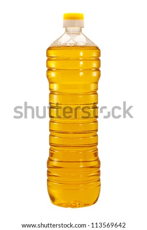 Bottle of sunflower oil isolated on white background - stock photo