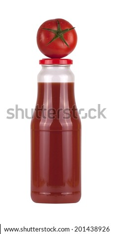 Bottle of tomato juice with tomato on the top isolated on white background