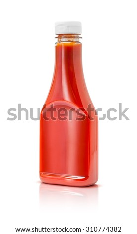 bottle of tomato sauce ketchup isolated on white background
