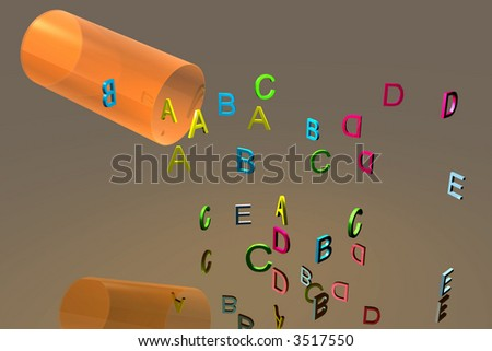 Bottle of vitamin letters spilled out - stock photo