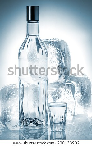 Bottle of vodka and ice cubes - stock photo
