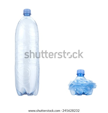 Bottle of water and recycling isolated on white background