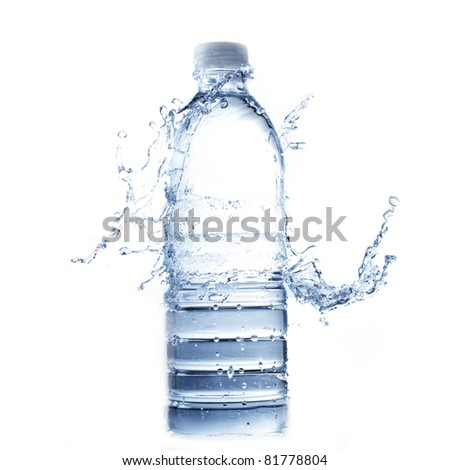 bottle of water and water splash isolated on white - stock photo