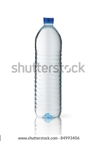 Bottle of water glass, isolated on white background - stock photo