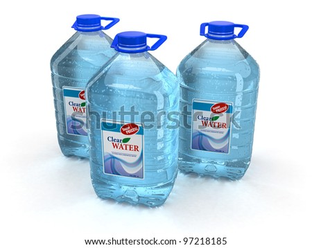 Bottle of water on white background. 3d - stock photo