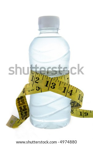 bottle of water with yellow metric tape over white background