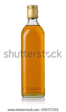 Bottle of whiskey isolated on a white background with clipping path - stock photo