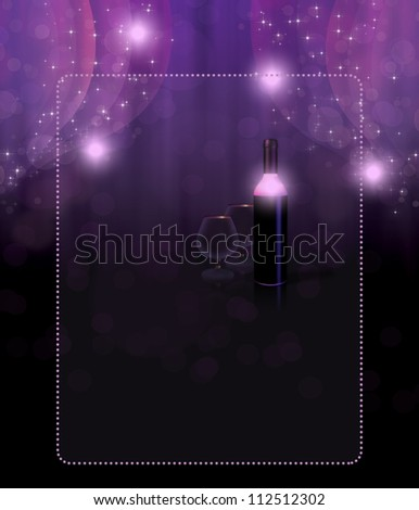 Bottle of white wine and glasses over violet background. - stock photo